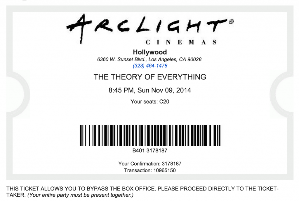 Existing Arclight ticket